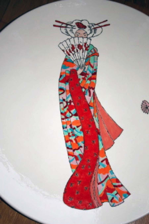 Japanse dame in kimono met waaier - ronde schaal