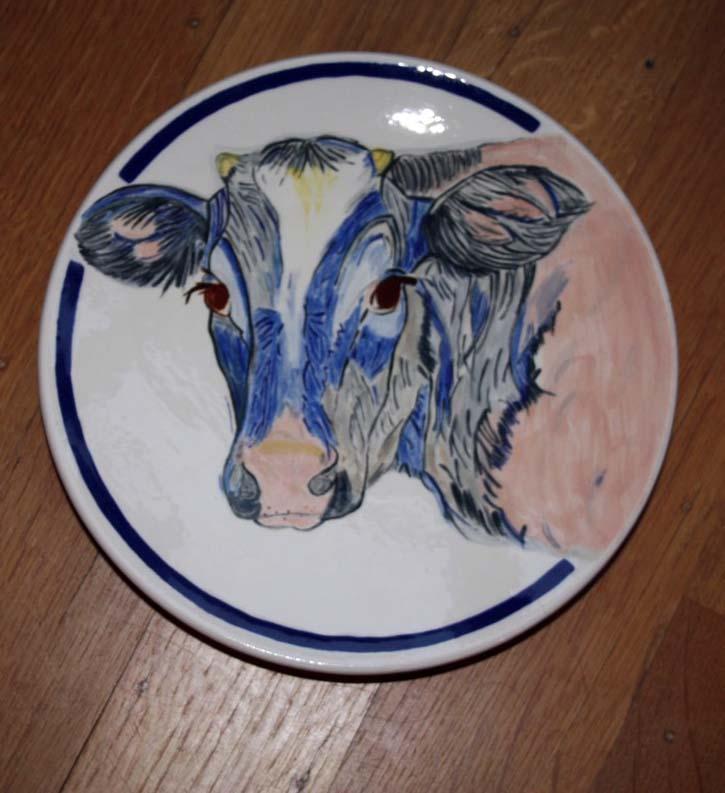 Ontbijtbord rond koe naar Loes Botman
