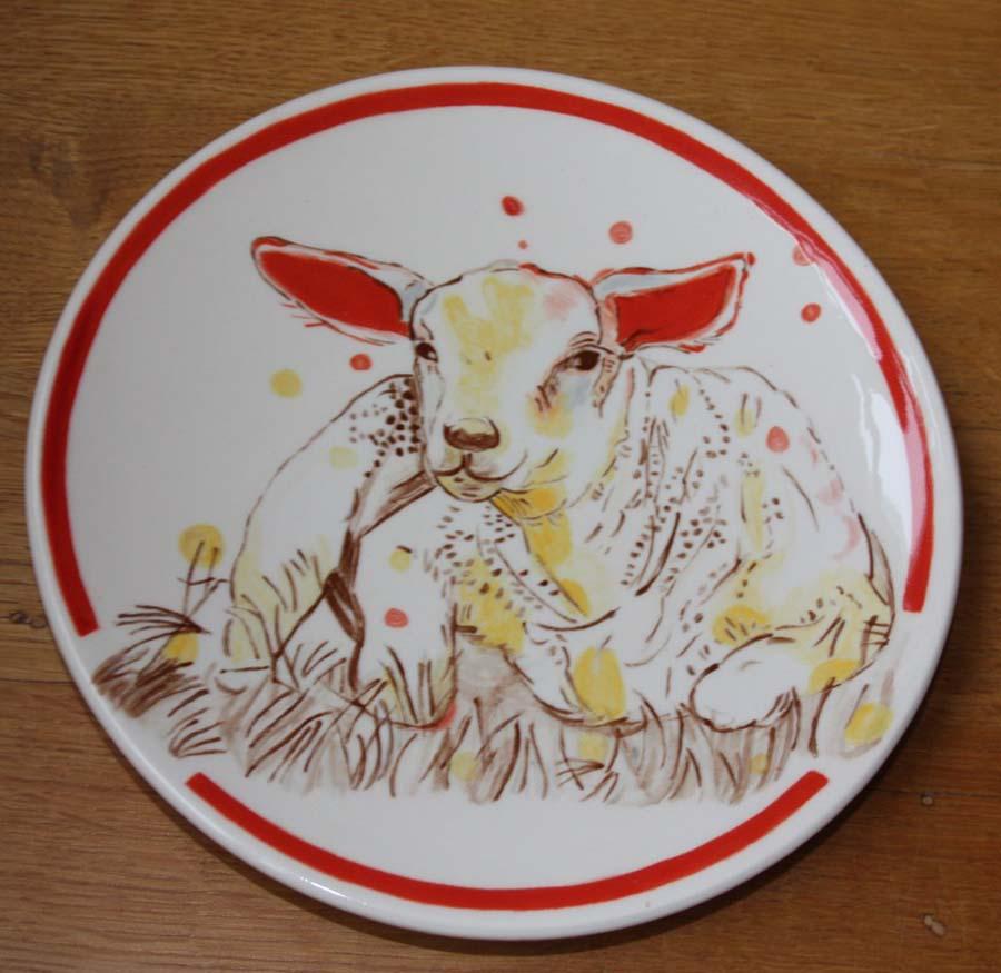 Ontbijtbord rond lam naar Loes Botman