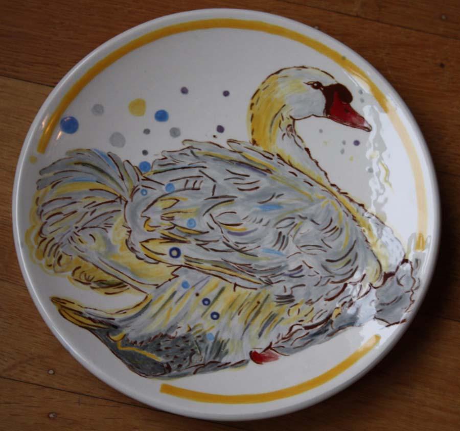 Ontbijtbord rond zwaan naar Loes Botman