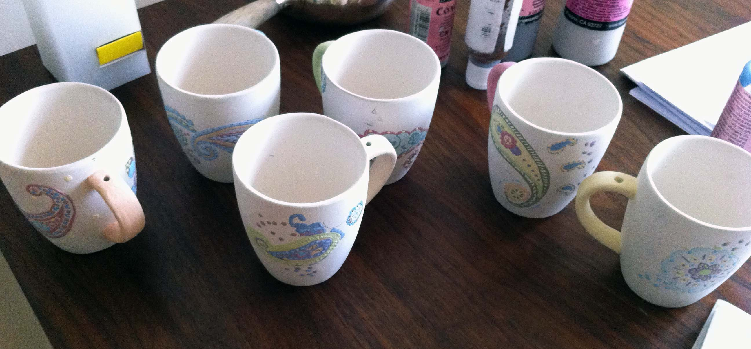 Koffiebekers Paisley ongebakken