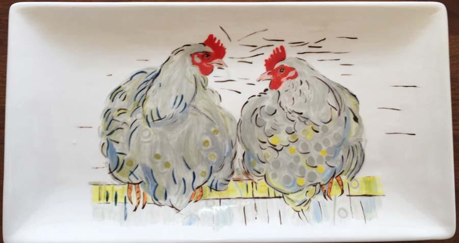 Kippen - rechthoekige schaal
