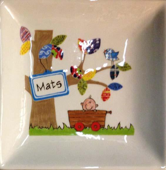 Vierkant bord geboorte Mats