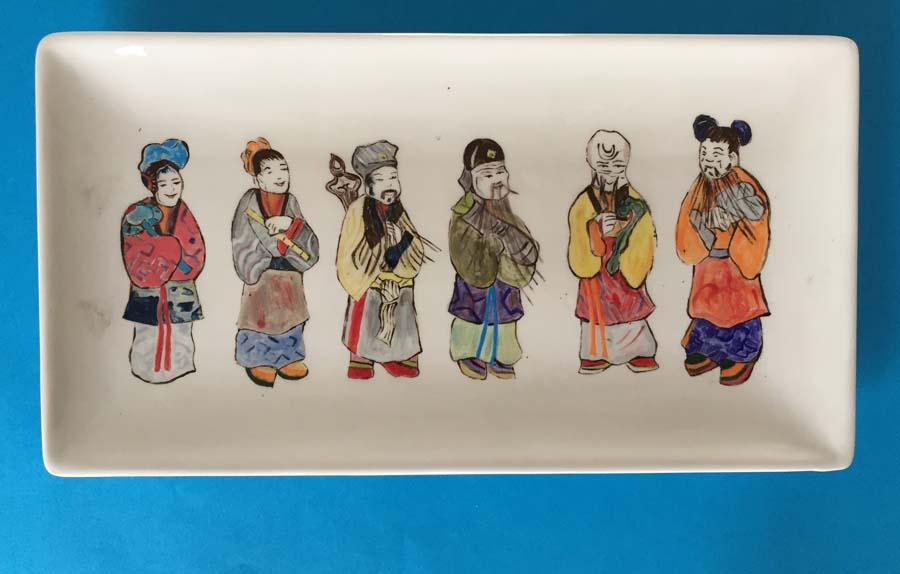Chinese traditionele kledij - schaal langwerpig 32 x 17 cm